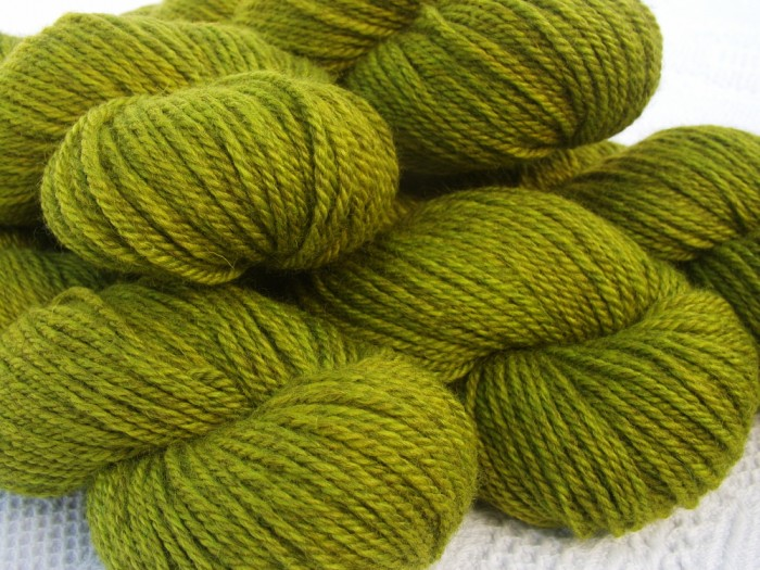Golden Chartreuse Bluefaced Leicester (BFL) / Masham aran yarn. Hand-dyed by Triskelion Yarn