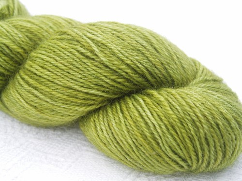 Mid-tone forest green hand-dyed Wensleydale DK/ Double Knit yarn. Hand ...
