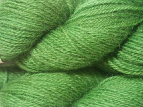 Semi-solid pasture green hand-dyed Wensleydale DK/ Double Knit yarn. Hand-dyed by Triskelion Yarn