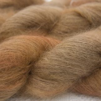 Oakwood brown kidsilk laceweight yarn. Hand-dyed by Triskelion Yarn