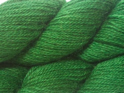 Mid-tone emerald green hand-dyed Wensleydale DK/ Double Knit yarn. Hand-dyed by Triskelion Yarn