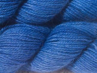Semi-solid deep cornflower blue hand-dyed Wensleydale DK/ Double Knit yarn. Hand-dyed by Triskelion Yarn