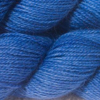 Semi-solid deep cornflower blue hand-dyed Wensleydale DK/ Double Knit yarn. Hand-dyed by Triskelion Yarn
