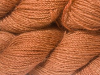 Light to mid pinkish-brown hand-dyed Wensleydale DK/ Double Knit yarn. Hand-dyed by Triskelion Yarn