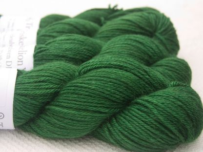 Green Baby Alpaca Silk & Cashmere double-knit yarn. Hand-dyed by Triskelion Yarn.