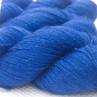 Blue Bluefaced Leicester laceweight yarn. Hand-dyed by Triskelion Yarn.