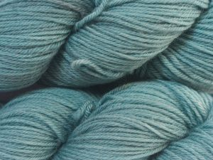 Semi-solid sky blue superwash British Bluefaced Leicester sportweight yarn. hand-dyed by Triskelion Yarn