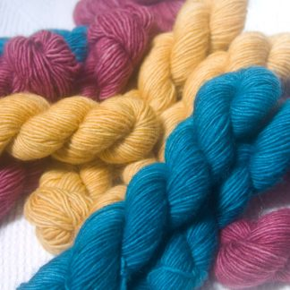 Bluefaced Leicester and Falklands Merino 20g mini-skeins. Hand-dyed at Triskelion Yarn