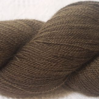 Cool mid to dark brown Bluefaced Leicester & baby alpaca 3-ply yarn hand-dyed by Triskelion Yarns