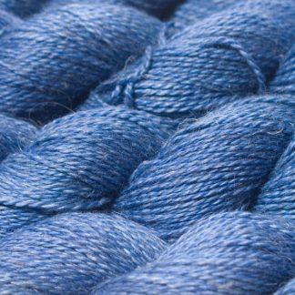 Semi-solid deep cornflower blue Baby Alpaca, silk and linen sport weight yarn. Hand-dyed by Triskelion Yarn.