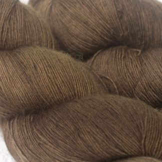 Cool mid to dark brown Falklands Merino laceweight yarn hand-dyed by Triskelion Yarns
