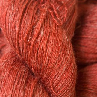 Fiery orange-red Baby Alpaca, silk and linen heavy laceweight yarn. Hand-dyed by Triskelion Yarn.