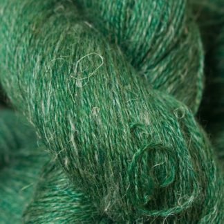 Deep forest green Baby Alpaca, silk and linen heavy laceweight yarn. Hand-dyed by Triskelion Yarn.