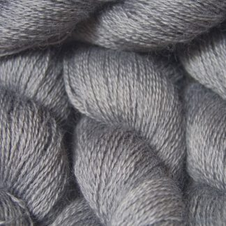 Light to mid grey hand-dyed Wensleydale DK/ Double Knit yarn. Hand-dyed by Triskelion Yarn