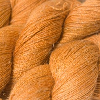 Semi-solid light fiery orange Baby Alpaca, silk and linen 4-ply yarn. Hand-dyed by Triskelion Yarn.