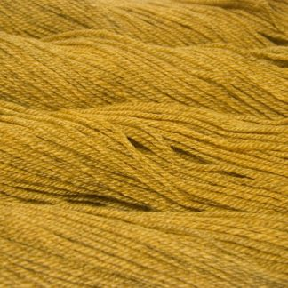 Semi-solid yellow, with tones of ochre and antique gold Bluefaced Leicester (BFL) / Masham aran yarn. Hand-dyed by Triskelion Yarn
