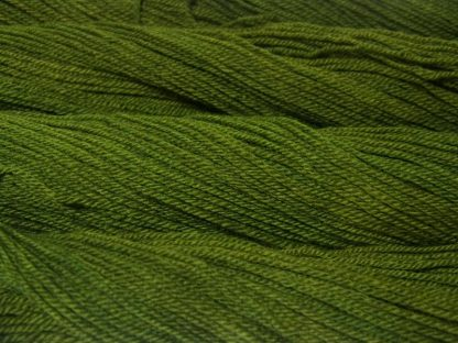 Semi-solid foliage green, with ochre and olive tones Bluefaced Leicester (BFL) / Masham aran yarn. Hand-dyed by Triskelion Yarn