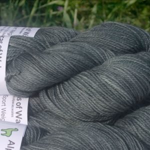 Alpacas of Wales semi solid mid to dark granite grey Suri & Baby Alpaca sport weight yarn. hand dyed by Triskelion Yarn