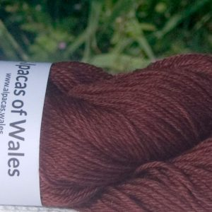 Alpacas of Wales semi-solid rich copper beech red brownSuri & Baby Alpaca sport weight yarn. hand dyed by Triskelion Yarn