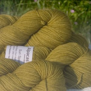 Alpacas of Wales semi-solid moorland green-yellow Suri & Baby Alpaca sport weight yarn. hand dyed by Triskelion Yarn
