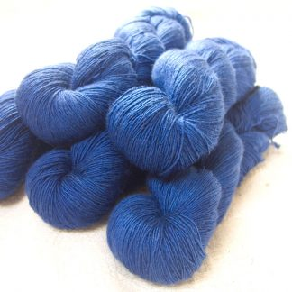 Navigator - Semi-solid deep blue Falklands Merino and silk blend yarn. Hand-dyed by Triskelion Yarn.