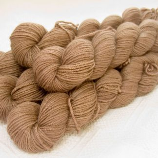 Rabbit - Light to mid-tone fawn Baby Alpaca Silk & Cashmere double-knit yarn. Hand-dyed by Triskelion Yarn.