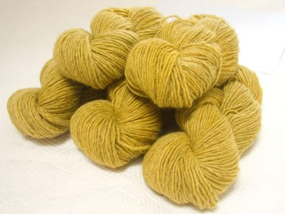 Lleu - Light cool yellow Bluefaced Leicester (BFL) / Masham worsted yarn. Hand-dyed by Triskelion Yarn