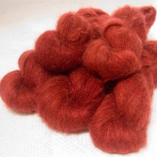 Cofgodas - Semi-solid dark orange, with tones of copper, vermillion and russet kidsilk laceweight yarn. Hand-dyed by Triskelion Yarn