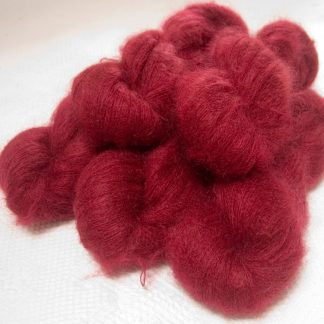 Wyrd - Deep red kidsilk laceweight yarn. Hand-dyed by Triskelion Yarn