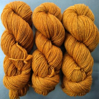 Semi-solid light orange, with tones of ochre and scarlet Bluefaced Leicester (BFL) / Gotland 4-ply (fingering) yarn. Hand-dyed by Triskelion Yarn
