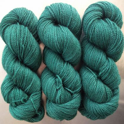 Nicor - Semi-solid dark blue-green, with turquoise and grey tones Bluefaced Leicester (BFL) / Gotland 4-ply (fingering) yarn. Hand-dyed by Triskelion Yarn