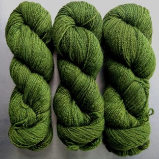 Seal Grove - Semi-solid foliage green, with ochre and olive tones Bluefaced Leicester (BFL) / Gotland dlouble knit (DK) yarn. Hand-dyed by Triskelion Yarn