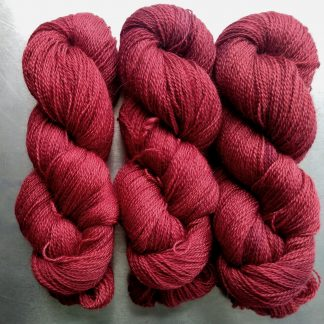 Ancient Heart - Mid to dark soft scarlet Falklands Corriedale and British Mohair 4-ply/fingering/sock yarn. Hand-dyed by Triskelion Yarn