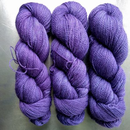 Gwiolydd - Blue-violet Falklands Corriedale and British Mohair 4-ply/fingering/sock yarn. Hand-dyed by Triskelion Yarn