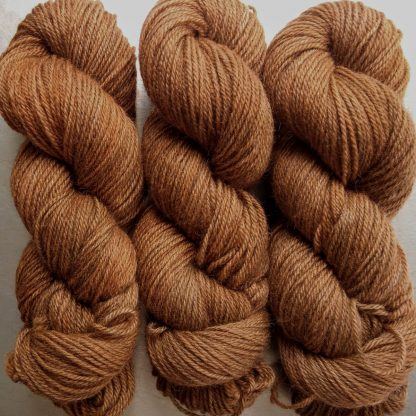 Marten - Rich russet brown Bluefaced Leicester (BFL) / Gotland dlouble knit (DK) yarn. Hand-dyed by Triskelion Yarn