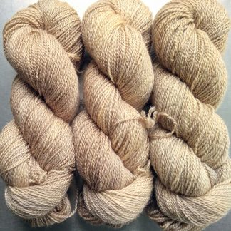 Almond - warm beige-brown Bluefaced Leicester / silk 4-ply yarn. Hand-dyed by Triskelion Yarn.