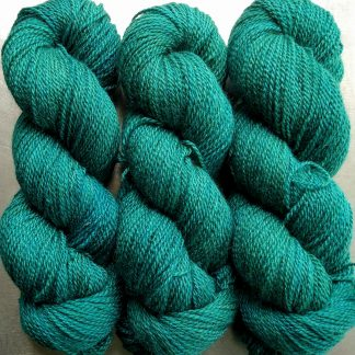 Estuary - mid-tone teal green Bluefaced Leicester / silk 4-ply yarn. Hand-dyed by Triskelion Yarn.