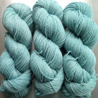 Glacier - pale ice blue Bluefaced Leicester / silk 4-ply yarn. Hand-dyed by Triskelion Yarn.