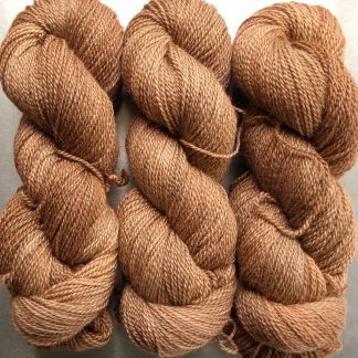 Marten - rich russet brown Bluefaced Leicester / silk 4-ply yarn. Hand-dyed by Triskelion Yarn.