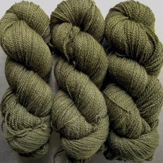 Moss - dark khaki green Bluefaced Leicester / silk 4-ply yarn. Hand-dyed by Triskelion Yarn.