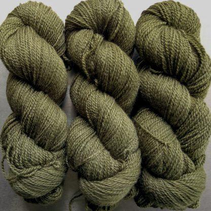 Moss - dark khaki green Bluefaced Leicester / silk 4-ply yarn. Hand-dyed by Triskelion Yarn.