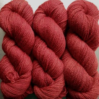 Poppy - mid-tone vermilion Bluefaced Leicester / silk 4-ply yarn. Hand-dyed by Triskelion Yarn.