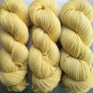 Primrose - pale yellow Bluefaced Leicester / silk 4-ply yarn. Hand-dyed by Triskelion Yarn.