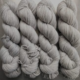 Foggy Day - Soft light grey Baby Alpaca Silk & Cashmere double-knit yarn. Hand-dyed by Triskelion Yarn.
