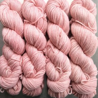 Mallow - Soft pale pink Baby Alpaca Silk & Cashmere double-knit yarn. Hand-dyed by Triskelion Yarn.
