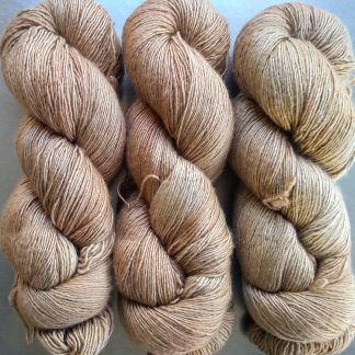 Oak - Light to mid brown Falklands Merino and silk blend yarn. Hand-dyed by Triskelion Yarn.