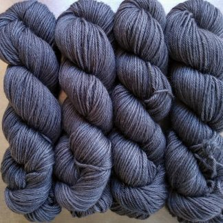 Graphite - Mid to dark cool grey Baby Alpaca Silk & Cashmere double-knit yarn. Hand-dyed by Triskelion Yarn.