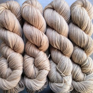 Biscuit - Light brownish beige Baby Alpaca Silk & Cashmere 4-ply yarn. Hand-dyed by Triskelion Yarn.