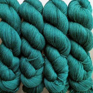 Estuary - Rich greens and blues Baby Alpaca Silk & Cashmere 4-ply yarn. Hand-dyed by Triskelion Yarn.
