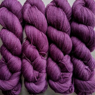 Tyrian Purple - Reddish mid to dark purple Baby Alpaca Silk & Cashmere 4-ply yarn. Hand-dyed by Triskelion Yarn.